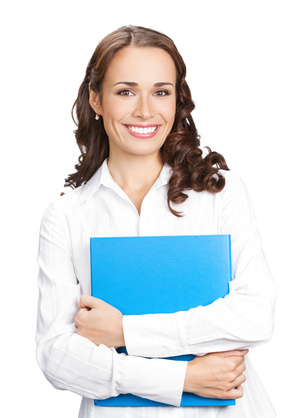 Portrait of young happy smiling businesswoman with blue folder, isolated on white background